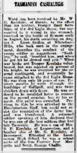 Basil Kerslake - Reporting of death 17 October 1915